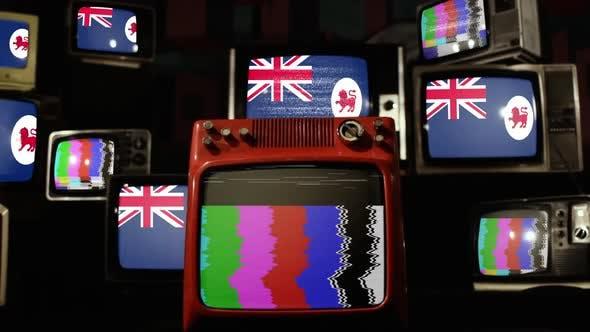 Thumbnail for Flag of Tasmania on Retro TVs.