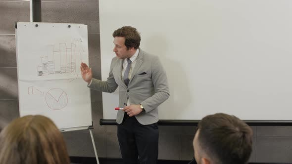 Male Coach Gives Corporate Presentation on Whiteboard