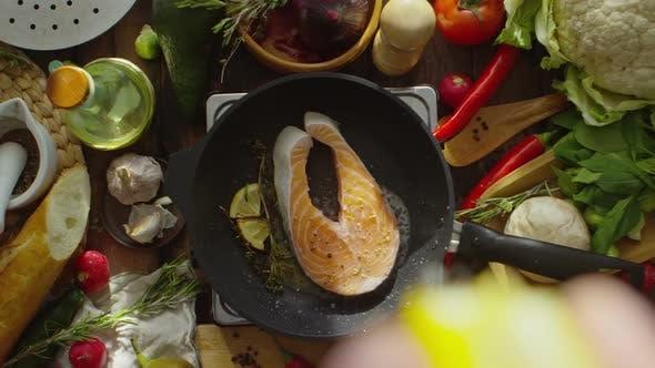 Thumbnail for Adding Lemon Juice to Salmon Steak