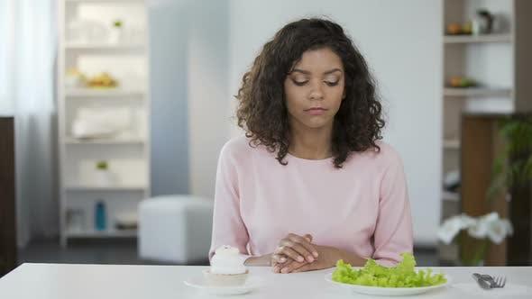 Thumbnail for Beautiful Biracial Woman Choosing Between Salad and Sweets, Health, Choice