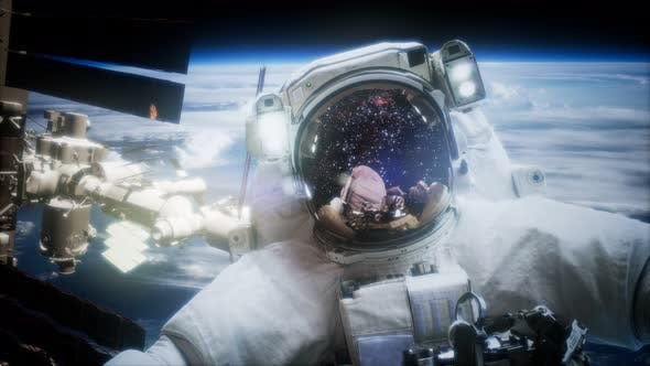 Thumbnail for Astronaut at Spacewalk. Elements of This Image Furnished By NASA
