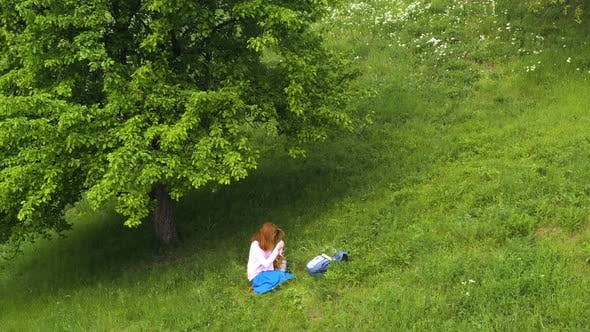 Thumbnail for Girl With The Corgi Dog Sitting On A Grass Under The Tree