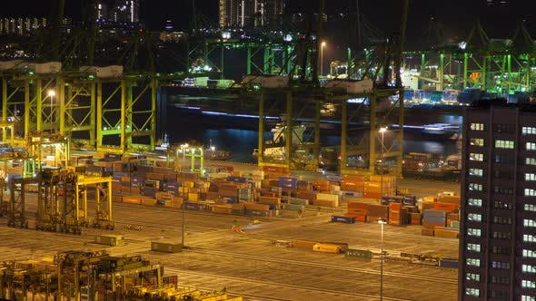 Thumbnail for Trading Port of Singapore with Containers Night Timelapse