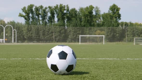 Thumbnail for Soccer Ball Rolls On A Grass And Stands On A Field