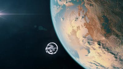 Futuristic Space Station Orbiting an Exoplanet