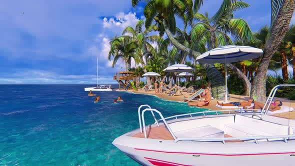 Thumbnail for Panorama Beach Vacation On The Island Hd People