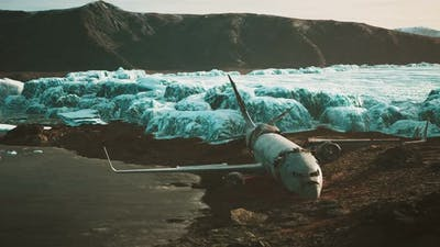Old Broken Plane on the Beach of Iceland