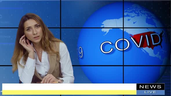 Female Anchorwoman, News Presenter Talking About Covid-19 in Broadcasting Studio