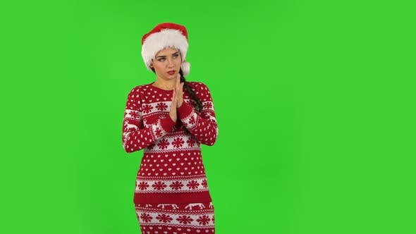 Thumbnail for Sweety Girl in Santa Claus Hat Is Waiting . Green Screen