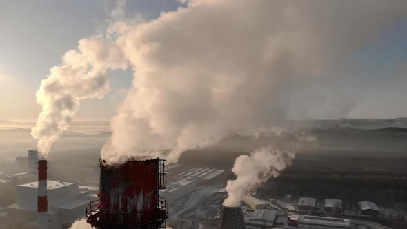 Thumbnail for View of the Thermal Power Plant with Smoking Chimneys Filmed with a Wide Angle Lens