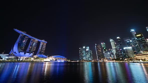 Thumbnail for Singapore | The skyline at night (Wide angle view)