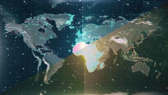 Thumbnail for Scanning Textured Illuminated Blue Africa Map 4K