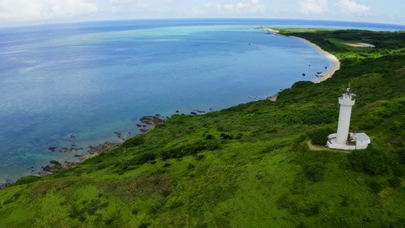 Thumbnail for Top view of Cape Hirakubozaki in Ishigaki island with sunshine