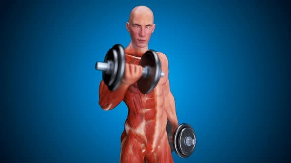 3D abstract art of a man doing biceps curls
