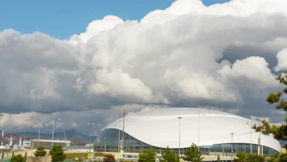 Thick Rainclouds Swirling Over Bolshoy Ice Dome, Sochi. Time-lapse.