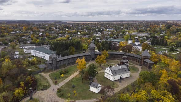 Aerial Panoramic View of Ukraine Wooden Fortress in Baturin. Hyperlapse.