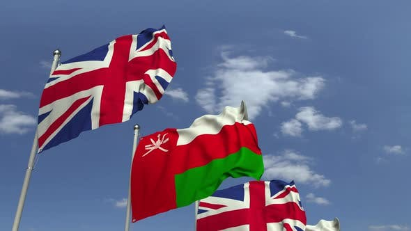 Flags of Oman and the UK at International Meeting