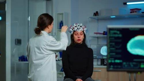 Ill Woman Visiting Professional Neurological Research Laboratory