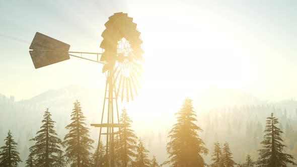 Cover Image for Typical Old Windmill Turbine in Forest at Sunset