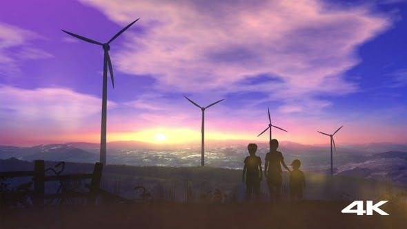 Thumbnail for Children At Sunset Watching Wind Power Plants 4K