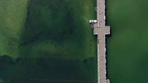 Aerial view of Sopot Pier in Poland - the longest wooden pier in Europe
