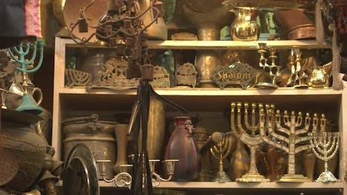 Tilt down of souvenirs