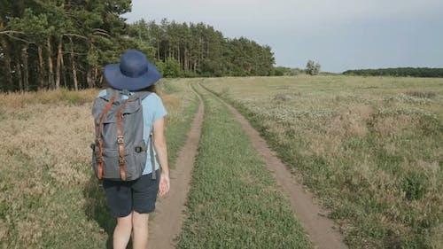 Woman Hiker Trekking In Summer Hike