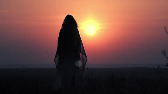 Thumbnail for Rear Woman Standing Alone Watching on Sunrise