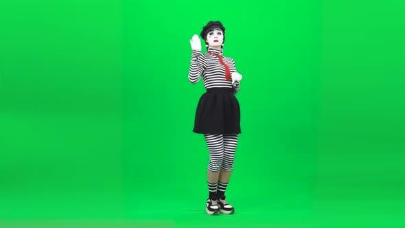 Thumbnail for Mime Girl Acting Like She Horsewoman. Chroma Key. Full Length