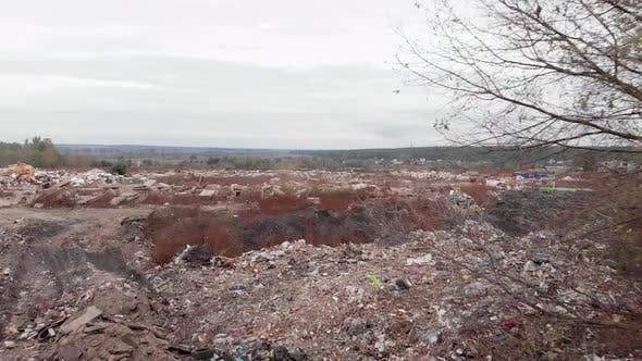 Thumbnail for Field with big garbage construction dump. Construction waste. Ecological pollution.