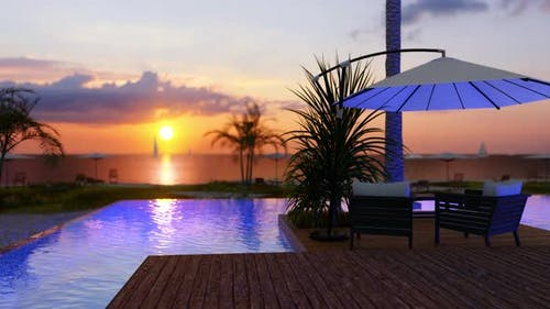 Beach House With Sea View Swimming Pool And Sunset In Backgound