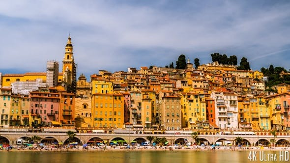 Thumbnail for 4K Time Lapse of the Picturesque Old Town of Menton France