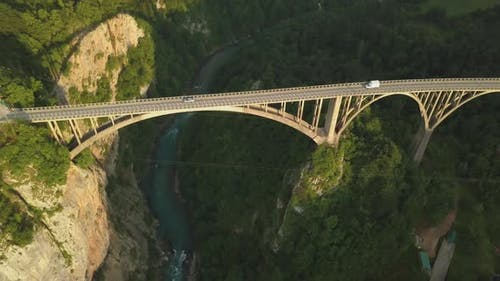 Djurdjevic Bridge Over the Tara River in Northern Montenegro, Aerial Footage