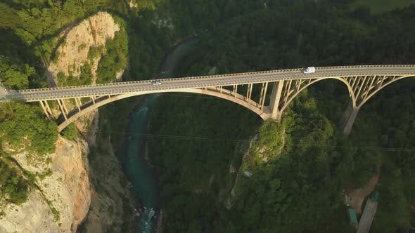 Djurdjevic Bridge Over the Tara River in Northern Montenegro, Aerial Footage
