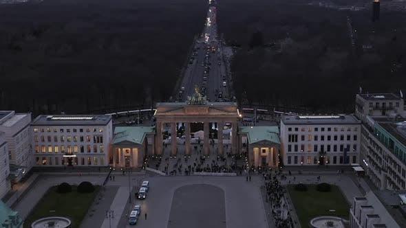 AERIAL: Towards Brandenburger Tor with City Traffic Lights in Berlin, Germany