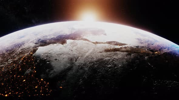 Thumbnail for Beautiful Realistic Sunrise Over Planet Earth From Outer Space