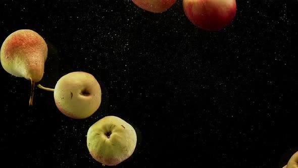 Thumbnail for Pears and Apples Fruits Falling Into Water with Splash and Air Bubbles Black Background