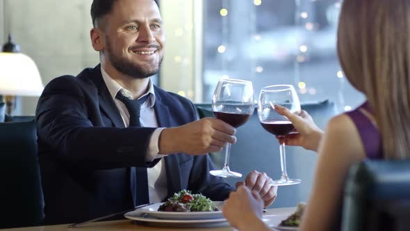 Thumbnail for Man and Woman Drinking Wine on First Date