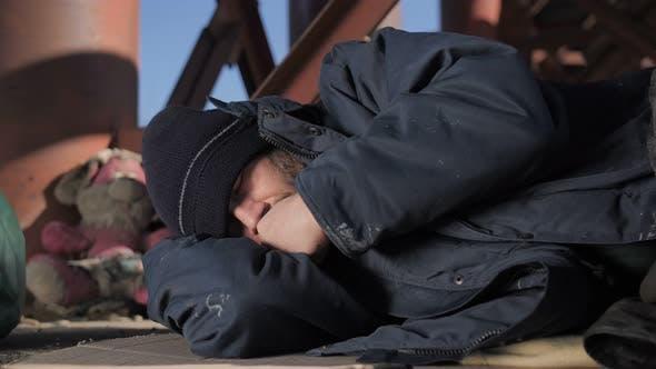Thumbnail for Portrait of Homeless Senior Male Sleeping