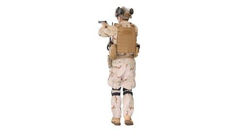 Ranger in Full Combat Uniform Walking on White Background