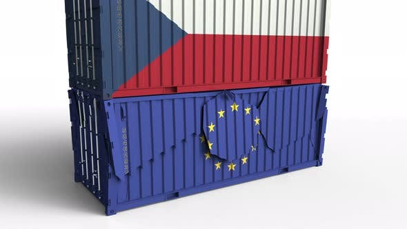 Thumbnail for Container with Flag of the Czech Republic Breaks Container with Flag of the EU