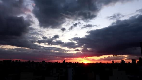 Time Lapse Of A Beautiful Sunset In Buenos Aires Argentina