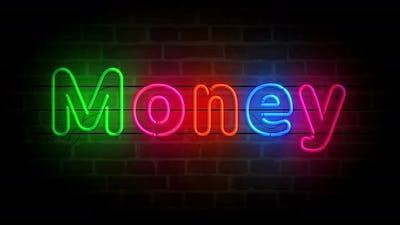 Money neon on brick wall loop