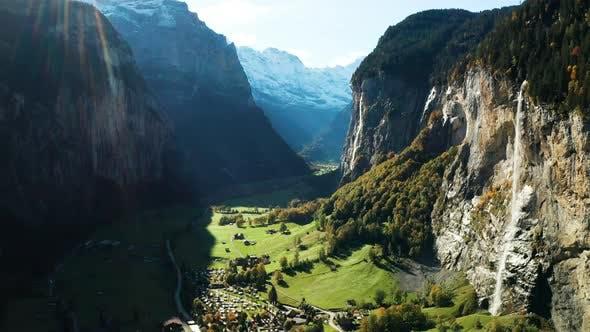 Thumbnail for Lauterbrunnen Town in Swiss Alps Valley, Switzerland