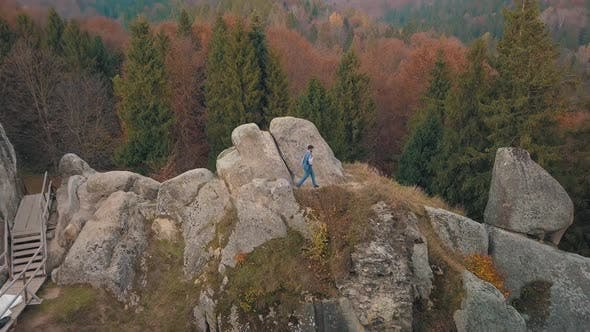 Young Man on the Hill of a Mountain, Businessman, Bridegroom, Groom, Aerial