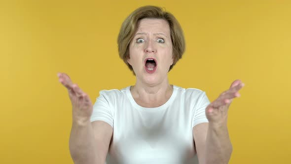 Thumbnail for Old Woman Gesturing Failure and Problems Isolated on Yellow Background