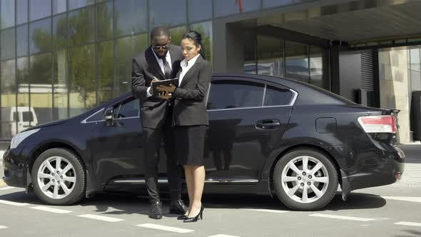 Thumbnail for Auto Sale Female Broker Signing Car Rental Contract With Foreign Client, Success