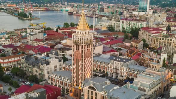 Thumbnail for Aerial hyperlapse of Piazza Batumi. Georgia 2020 summer