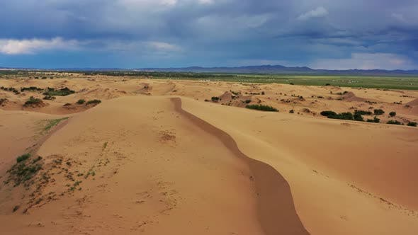 Aerial View of the Sand Dunes in Mongolia