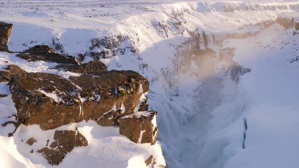 Thumbnail for Iceland Beautiful View Revealing Gullfoss Waterfall In Winter